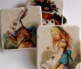 Alice In Wonderland coasters - as seen on HGTV