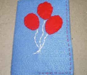 Felt Covered Mini Journal Red Balloons Refillable