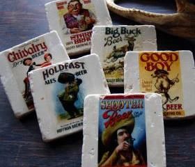 Vintage Beer Lable stone coasters