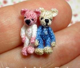 Tiny Sweethearts - Pair Of Miniature Crocheted Bears