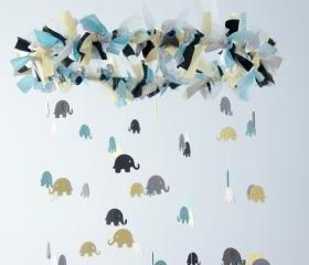 Blue Elephant Mobile for Baby Nursery in Blue Gray Yellow