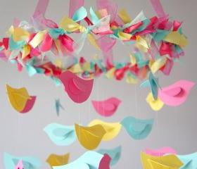 Bird Mobile - Pink, Yellow, Aqua for Baby Nursery Decor