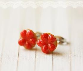 Food Jewelry - Strawberry Tarts Food Earrings