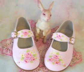 Toddler Shoes Maryjanes Pink Roses Size 7 Spring Wedding