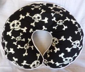 Boppy Nursing Pillow Cover Punk Rock Black and White Skull and Crossbones