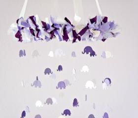 Elephant Mobile- Purple & Lavender Nursery Mobile, Photography Prop, Baby Shower Gift