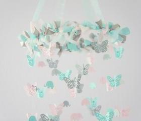 Pastel Nursery Mobile- Elephants & Butterflies Baby Shower Gift