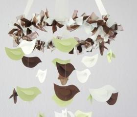 Bird Nursery Mobile- Bird Mobile in Green, Chocolate, and White