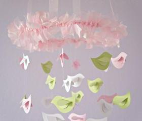 Baby Shower Nursery Mobile- Bird Mobile Nursrey Decor in Pink, Green & White