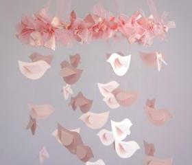 Bird Nursery Mobile in Pink - Nursery or Room Decor, Wedding Decor