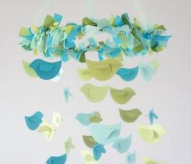 Boy Nursery Mobile- Blue & Green Birds- Babby Mobile, Nursery Decor, Baby Shower Gift