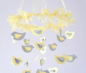Modern Nursery Mobile- Yellow & Gray Bird Photography Prop, Baby Shower Gift