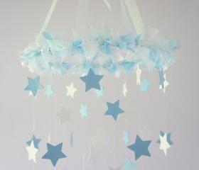 Baby Blue & White Star Mobile - Nursery Mobile, Baby Shower Gift, Nursery Decor