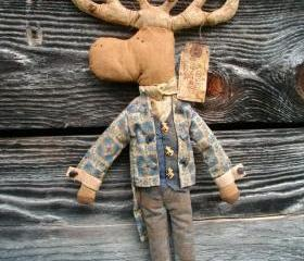 Primitive Moose Doll - Wall Hanging or Shelf Sitter - Blue Victorian Swallowtail Jacket