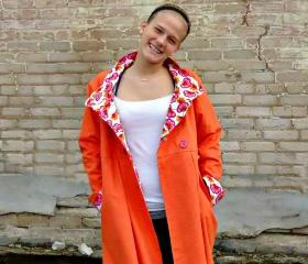 Spring Coat Swing Coat - Size Medium - Tangerine- Ready to Ship