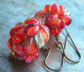 Glass Flower earrings, handmade artist lampwork beads fuchsia red and blue water opal crystals oxidized solid brass floral earrings