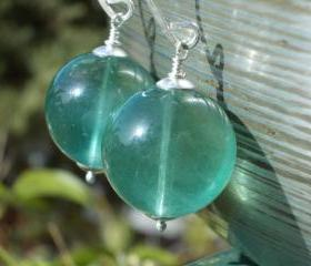 Huge natural fluorite gemstone earrings seafoam aquatic blue green genuine stone handforged hammered sterling silver ocean pond sea foam