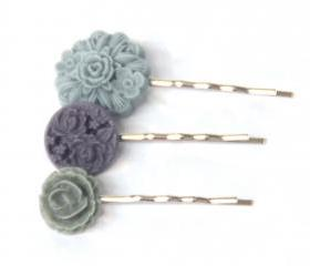 Flower bobby pins: Lavender charm Furano Murasaki