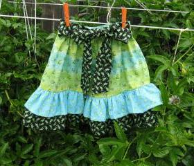 Ruffle Skirt Child Skirt Blue, Green Black Frog Fabric Size 5