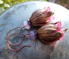 Copper tulip earrings, Long Romantic Bell Flower Earrings, Beaded lavender purple and fuchsia pink chic vintage style