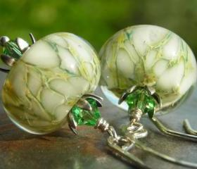 Jonquil on Snow, handmade artist lampwork beads earrings, Peridot Swarovski crystals, handforged hammered sterling silver, green white