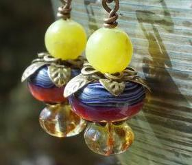 Exotic Berries earrings, olive jade handmade artist lampwork beads Czech glass antiqued brass fruit jungle leaves