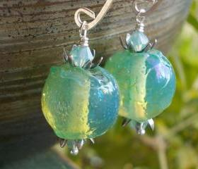 Pacific Waters, silver blue green ethereal earrings artist lampwork glass beads aqua ocean sea mermaid jewels