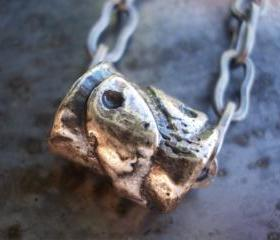 Pisces necklace, antiqued silver large hole bead on chain, metal fish focal pendant charm, unisex boy men woman peace friendship symbol