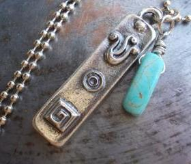 Mezuzah charm necklace, antiqued silver Judaica pendant with turquoise stone, unisex Jewish symbol amulet talisman