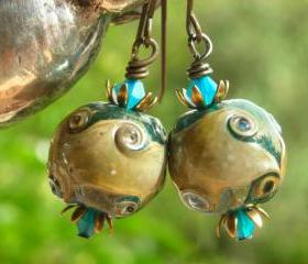 Caribbean Blue earrings with antiqued brass deep ocean waves and reef artist lampwork beads crystals and brass earrings