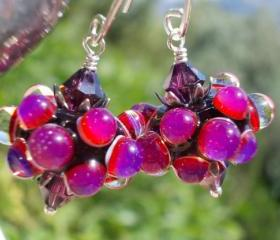 Bubblegum, Glass earrings, artist lampwork beads ruby fuchsia pink purple black and amethyst crystals sterling silver floral cottage chic