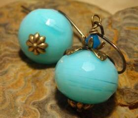 Larimar Blue Earrings, quartz and brass earrings, aquamarine blue quartz Sky Blue Caribbean blue pumpkins