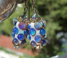 Mulberries, Glass earrings, handmade artist lampwork beads purple blue and crystals oxidized solid brass floral cottage chic