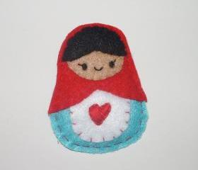 Matryoshka Doll Felt Brooch