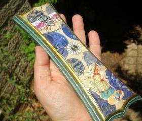 Victorian Girl Mezuzah Case Holder, Vintage watch parts, collage, steampunk, gears, antique chromolithograph, judaica, Bat Mitzvah gift