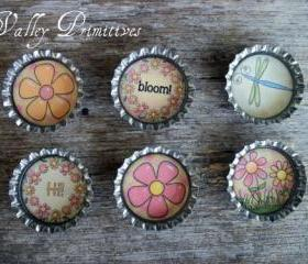 Bottle Cap Magnets - Flowers, Spring, Summer, Dragonfly, Set of 6