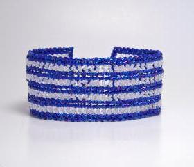 Bead Woven Bracelet in Herringbone Blue