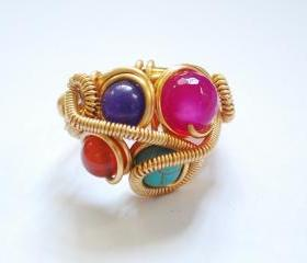 Wire Wrapped Semi Precious Stones Ring