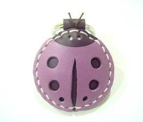 Penny the LadyBug leather keychain / charm ( Purple )