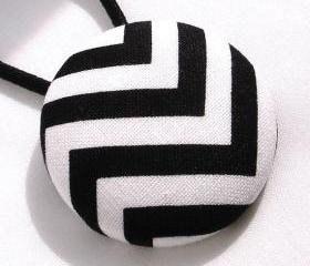 Ponytail Holder, Black and White Chevron