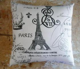 French Country Pillow, French Decor, Eiffel Tower, Paris, Cottage Decor