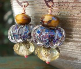 Tiger Pumpkin Earrings, artist lampwork glass beads, handforged copper, natural tigers eye gemstones, jungle fruit berry, earthy rustic