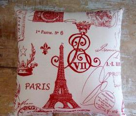 French Country Pillow, Paris Decor, Eiffel Tower, Cottage Decor
