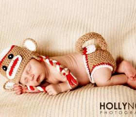 Crochet Red Sock Monkey Hat and Diaper Cover Set Newborn Photography prop 