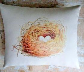 Bird Nest Pillow, French Country Home, French Decor, Cottage Decor, Farmhouse