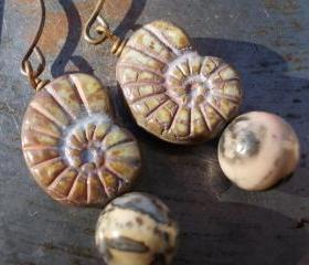 Fossil Harmony, Ammonite earrings Nautilus glass beads, Fossil Jasper gemstones, solid brass primitive prehistorical sealife sea life shell