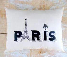 Paris Pillow, Eiffel Tower, French Country Home, Cottage Decor, Paris Decor