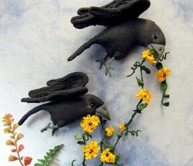 Crows Primitive Soft Sculpture Wall Hanging