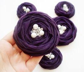Purple Roses Handmade Appliques Embellishment 5 pcs