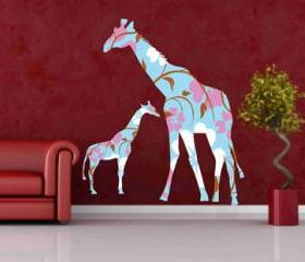 Mother and Baby Giraffe Decals Wall Vinyl Sticker